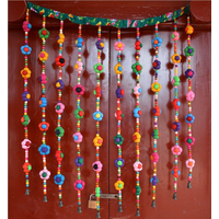Handmade Chinese fabric bead curtain DIY ethnic window decoration Handicraft