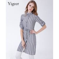 Long Sleeve Stripe Linen Casual Shirt With Waist String