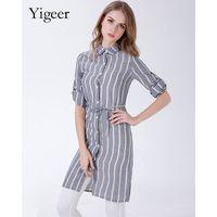 Long Sleeve Stripe Linen Casual Shirt With Waist String