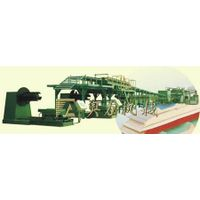 Continuous production line of rigid polyfoam sandwich panel with color-steel facings