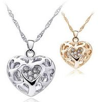 Fashion Women Silver/Gold Crystal Heart Pendant Necklace Jewelry