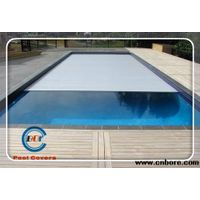 Durable custom made slatted pool cover with locking device