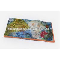 Floral & Graphic Print Silk Oblong Scarf in Dramatic Colors