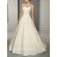 Modest Beaded Wedding Dress Strapless Sweetheart Bridal Gown thumbnail image