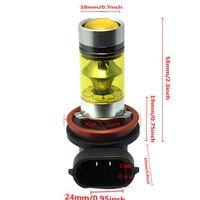 2PCS H11 H8 LED Fog Lights 100W 2323 Yellow Projector Driving DRL Bulb
