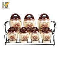7 pcs ceramic storage tea jar set for kitchen