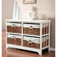 Wooden cabinet with handwoven storage basket thumbnail image