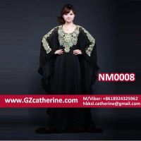 Black Chiffon Formal Arab Gowns Jalabiya Butterfly Sleeves Abaya