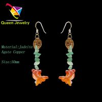 Mayan jade jewelry earring design image fashion agate goldfish earring for girl thumbnail image