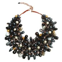 Luxurious Look Acrylic Glass Seed Bead Pearl Agate Stone Choker Necklace thumbnail image