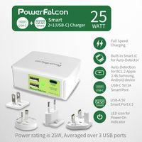 Powerfalcon 25W Smart 2+1(Type-C) port Charger/interchangable