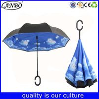 High Quality Pongee Material Straightsky blue reverse invert umbrella with rubber handle
