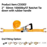 "CS5003 2"" 50mm 1000lbs/5T Ratchet Tie down with rubber handle"