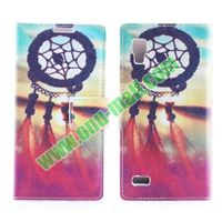 Stylish Cross Pattern Flip Stand PU Leather Case For LG P760 Optimus L9 (Sweet Dreamcatcher)