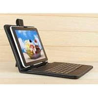 """Black Leather Stand Case Cover USB\Micro USB\Mini USB Keyboard For 7"""" 7 Inch Tablet PC thumbnail image"""