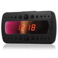 Surveillance Cameras HD720P alarm clock camera black color