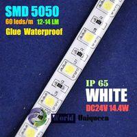 China Manufacture Wholesale DC24V 14.4W 12-14LM 60leds/m White IP65 Glue  Waterproof SMD5050 LED Str