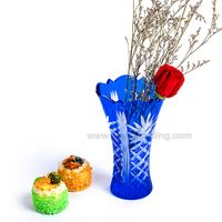 Bohemian Czech Hand Cutting Cobalt Blue Glass Flower Vase for Decoration
