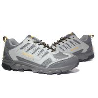 Breathable PU upper gray sneakers for men, cheap durable running shoes