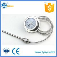 Prussure type Thermometer back mount oil filled available Remote Reading Capillary Thermometer