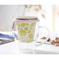 Heat resistant tea glass cup with ceramic cover&filter 350ml