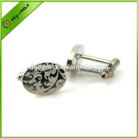 high quality lasered flower oval brass pure silver plating cufflinks thumbnail image