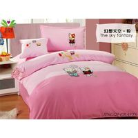 """Breathable cloth"" Hand woven 100% cotton bedding sets 4pcs zz4004"