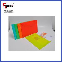 PP Translucent File with Button Plastic Stationery for Office & School Envelop Folder Bag