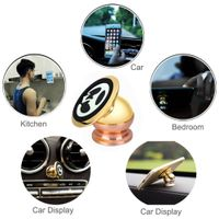 Universal Metal Magnetic Cell Phone Car Holder Gold Plating 360 Degrees Rotating Magic Metal Phone