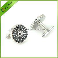 high quality round chrysanthemum brass silver plating cufflinks thumbnail image