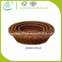 Natural Cheap Wicker Round Serving Table Tray Baskets for Sale