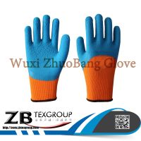 High performance 3/4 blue latex coated nylon winter garden working glove good quality