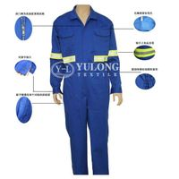 YL-230# brilliant blue cotton-padded flame retardant coverall