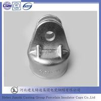 Malleable clevis suspension disc insulator caps