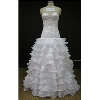A line sweetheart fitted layers ruffle white wedding dress
