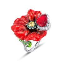 Rings for Women Red Rose Flower Enamel Ring White Cubic Zirconia Heart Pure 925 Sterling Silver