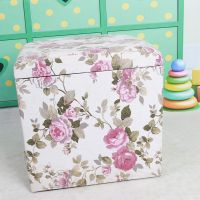 High quality fabric flower color pine storage stool