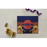 BLUE MATTE BOX THEMED - FOIL STAMPED WEDDING INVITATION : CD-1830