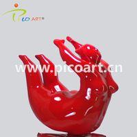 Comtemporary Red Fiberglass Fat Woman Art Resin Sculpture for Interior Decoration thumbnail image