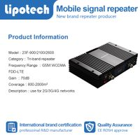 Black model tri band mobile signal booster KW23F-GWL GSM WCDMA LTE2600