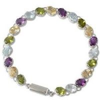 Silver Bracelet with Four Kinds of Faceted Gems