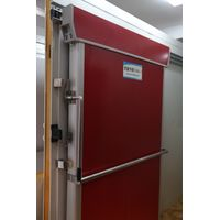 red manual sliding door