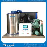 Snowell Hot Sale Duralble Use Bitzer Compressor 3 Tons/day Flake Ice Maker Machine for Freezing Fish