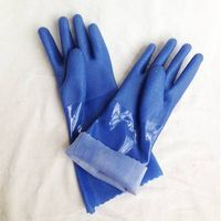 Blue long sleeve hand gloves PVC coated