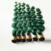 Human hair Body wave 1B/green Ombre kinky curly Shot hair