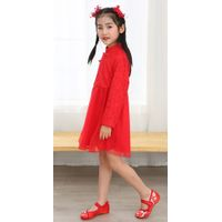 Girl summer long sleeve mandarin colar birthday party Chinese traditional dress Chinese red chiffo thumbnail image