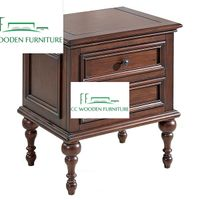 Pastoral style American country Ash wooden bedside table nightstand thumbnail image