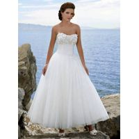 2011 New Elegant  White Tulle Strapless Beach Wedding Dress W124 thumbnail image