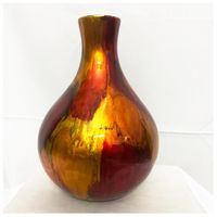 Handmade Lacquer Spun Bamboo Floor Vase Red Color thumbnail image