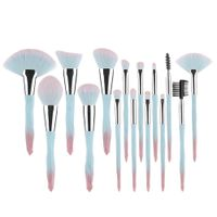 15 PCS Makeup Brush Set Colorful Synthetic Hair, Plastic Handle, Powder Brush, Blush, Face, Eye